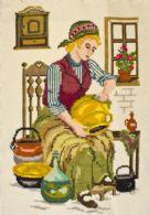 Pige polerer køkkengrej