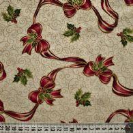 Røde sløjfebånd og kristtjørn, lys bund, lille beige mønster