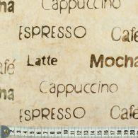 Lys bund-trykte kaffe-ord.