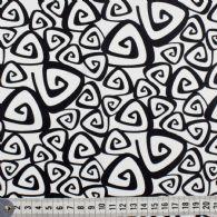 Hvid bund med sort kantet spiral mønster.