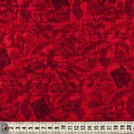 Rød bund med poststempler.