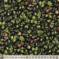 Rødt blomstermønster på sort
